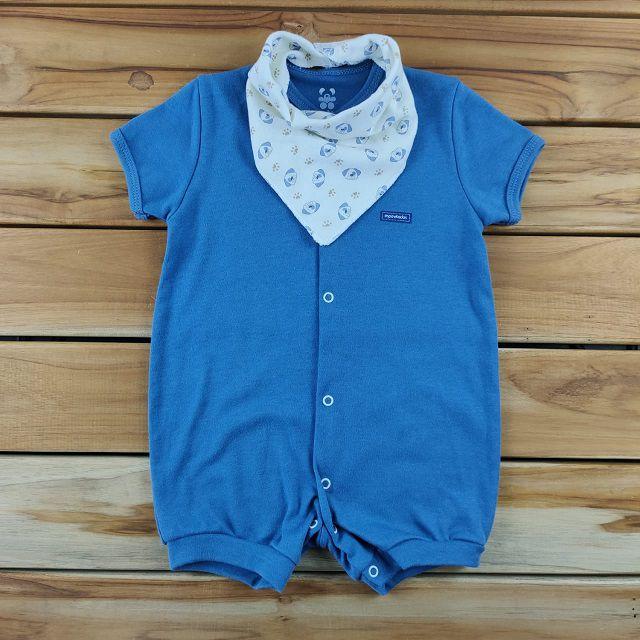 Macacão Curto Bebê Azul Liso com Bandana Cru