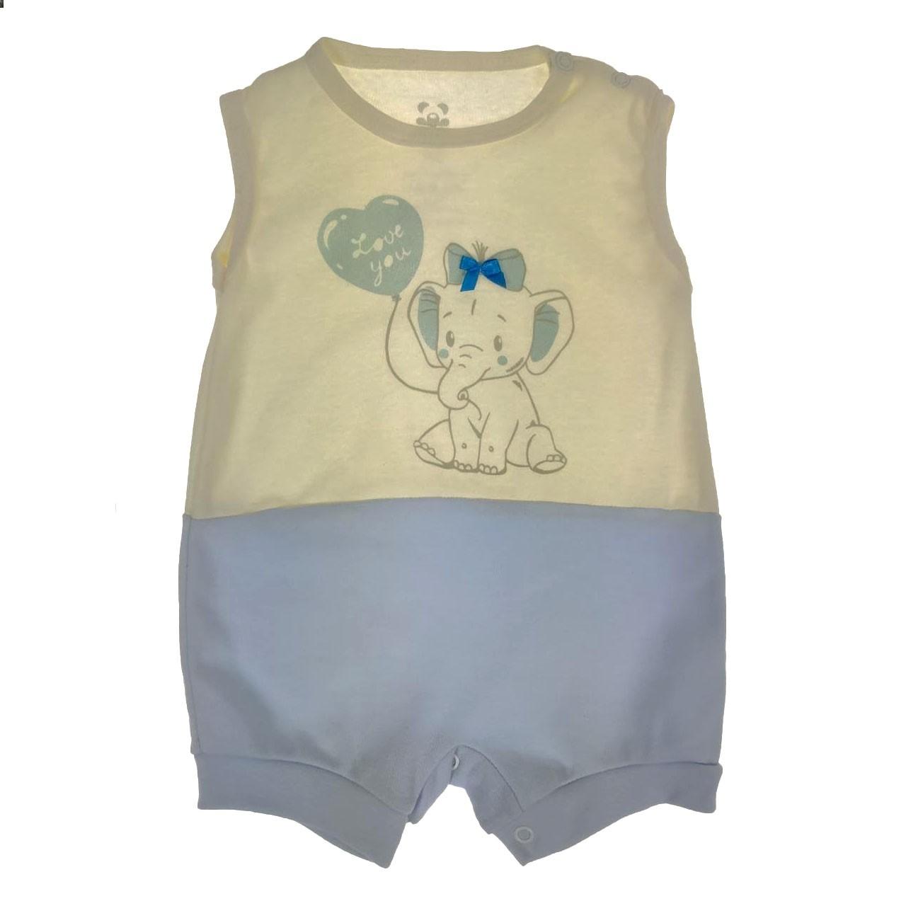 Macacão Curto Bebê Cru Elefante
