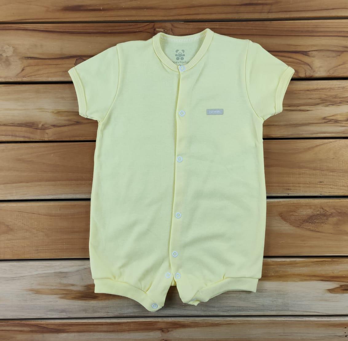 Macacão Curto Bebê Liso Amarelo