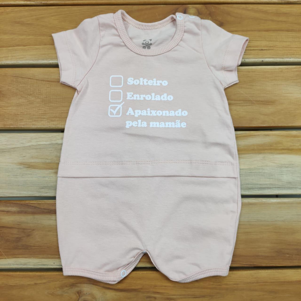Macacão Curto Bebê Rosa Mamãe