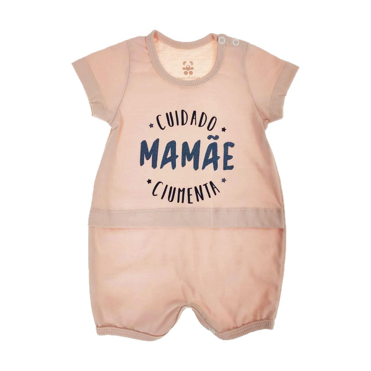 Macacão Curto Bebe Rosa Mamãe