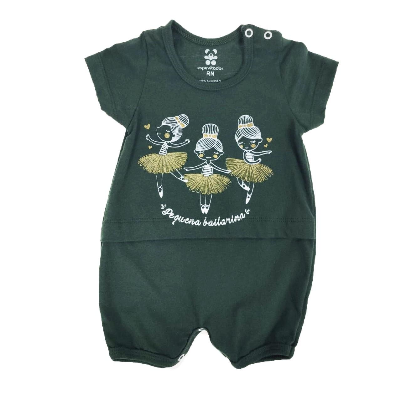 Macacão Curto Bebê Verde Militar Bailarinas