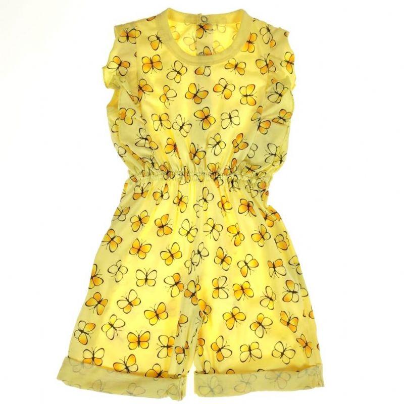 Macacão Curto Infantil Amarelo de Borboletas