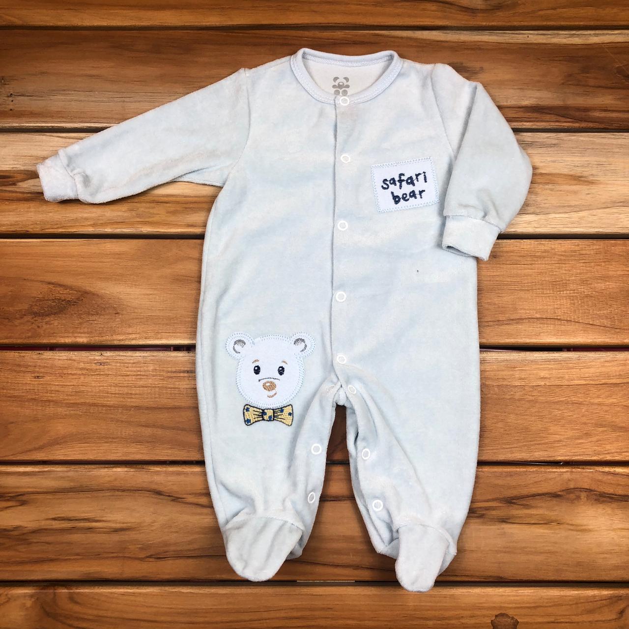 Macacão Longo Bebê Azul de Plush