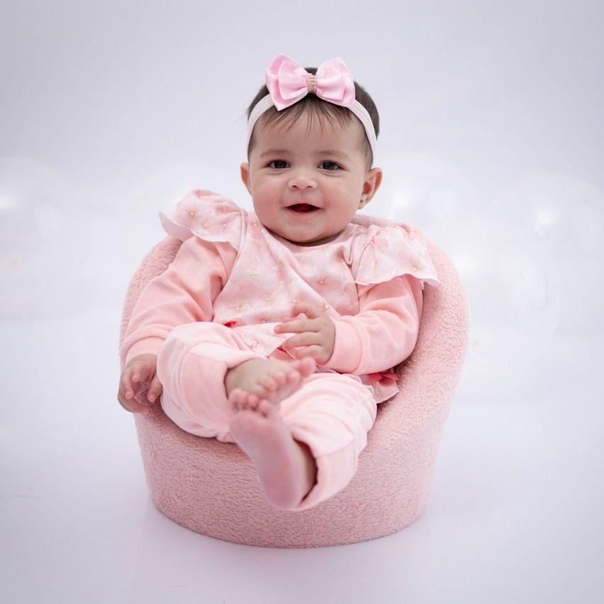 Macacão Longo Bebê Rosa de Plush