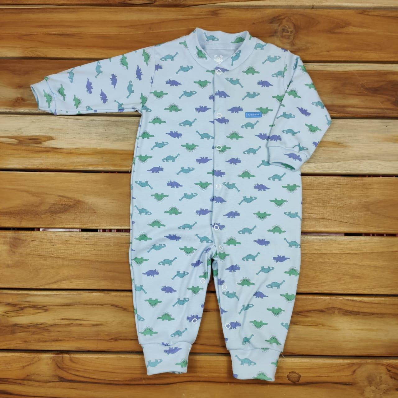 Macacão Longo Bebê Azul de Dinossauros