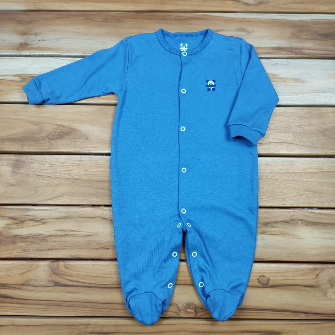 Macacão Longo Bebê Azul Liso