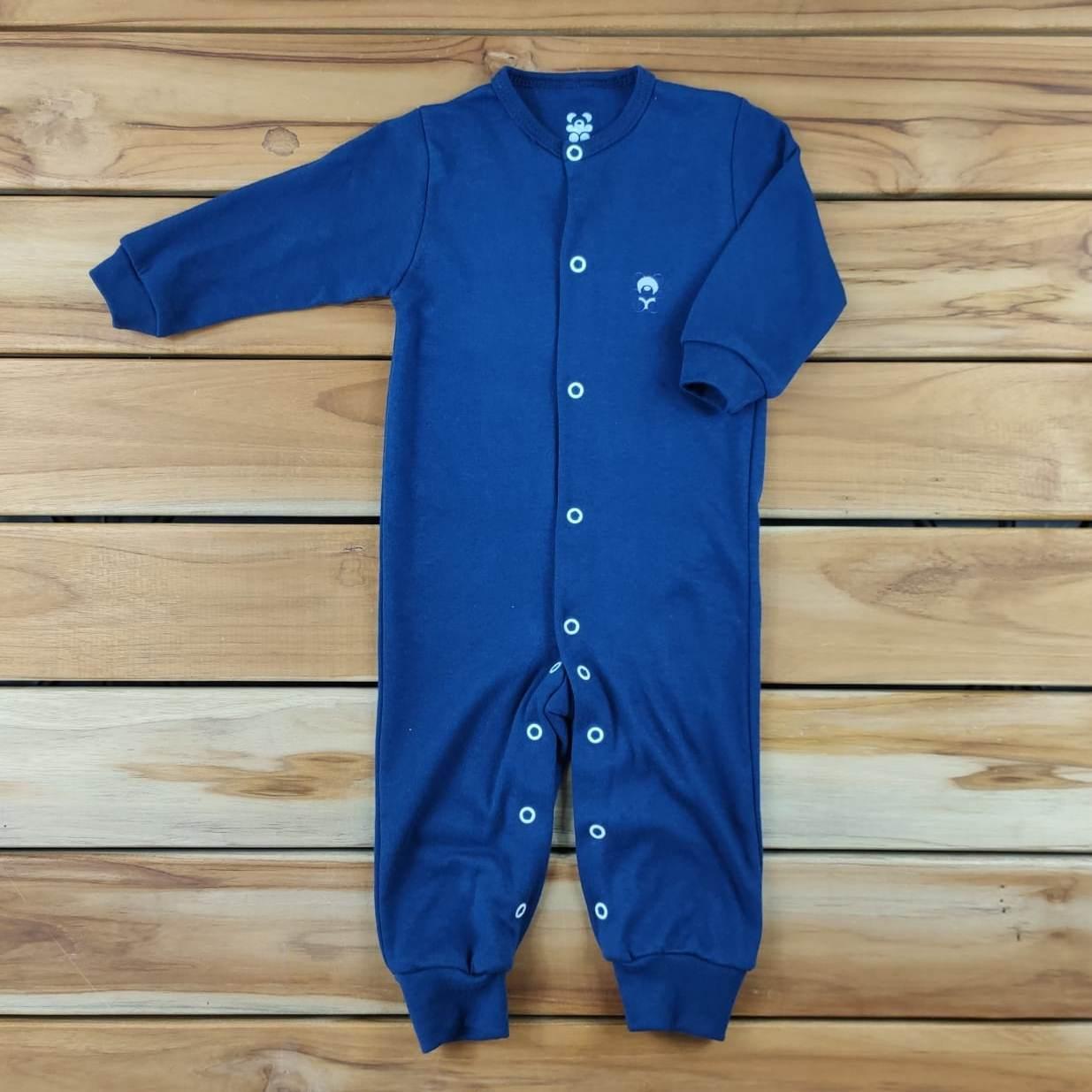 Macacão Longo Bebê Azul Marinho Liso