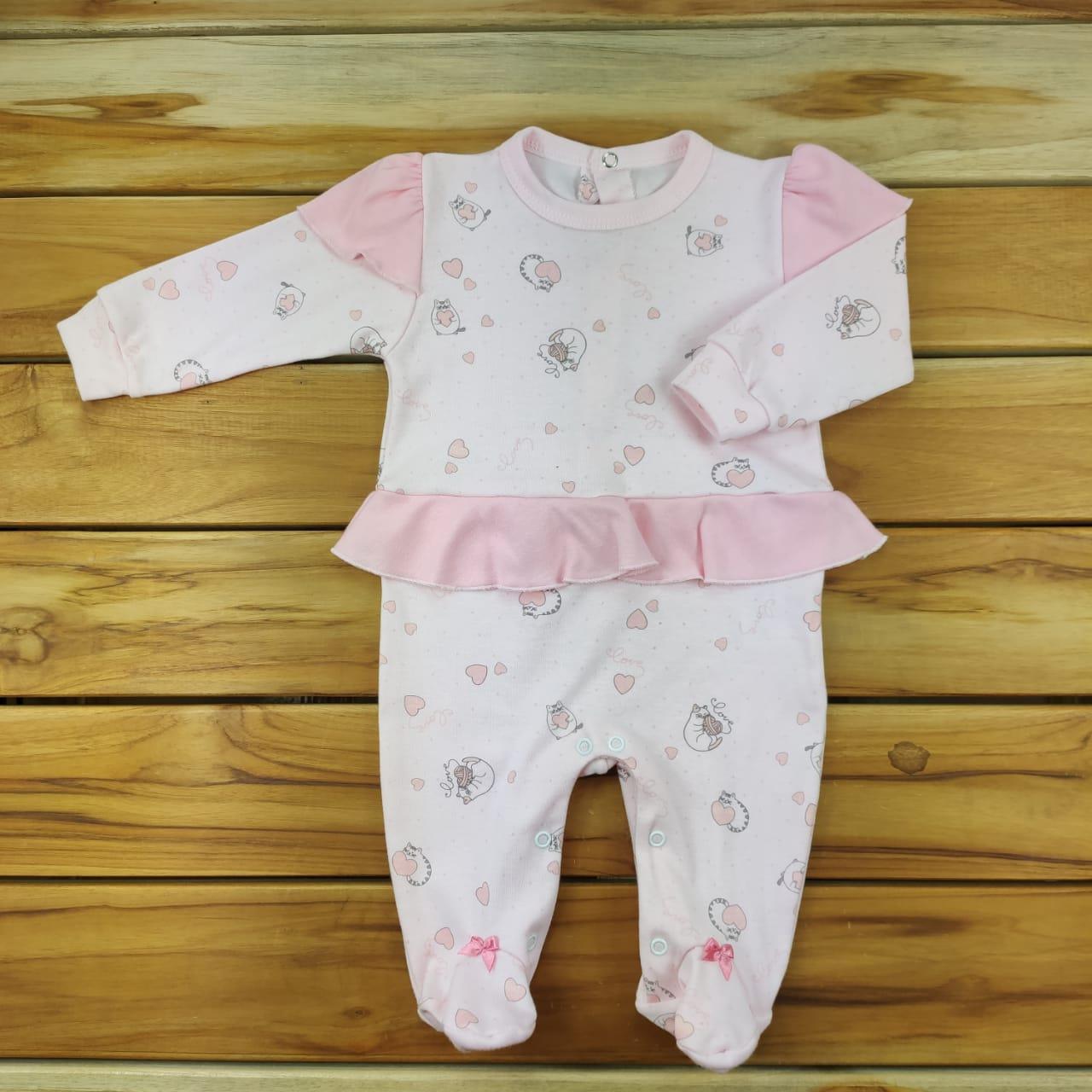 Macacão Longo Bebê Rosa de Gatinhas