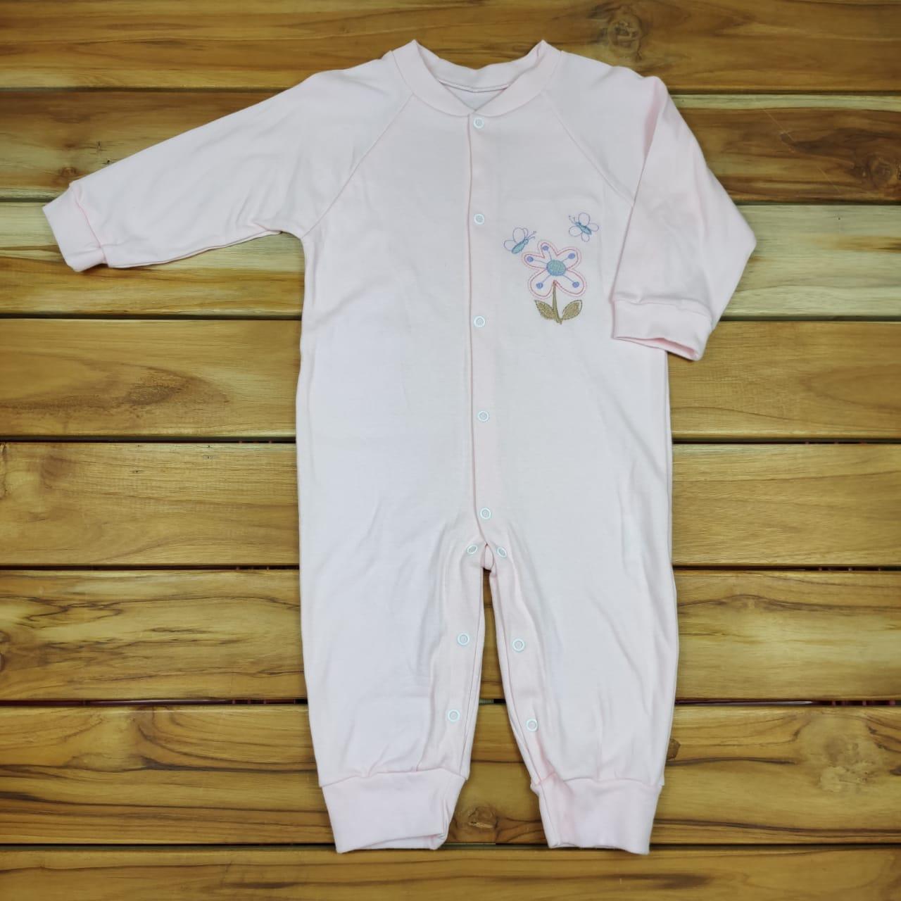 Macacão Longo Bebê Rosa Flor