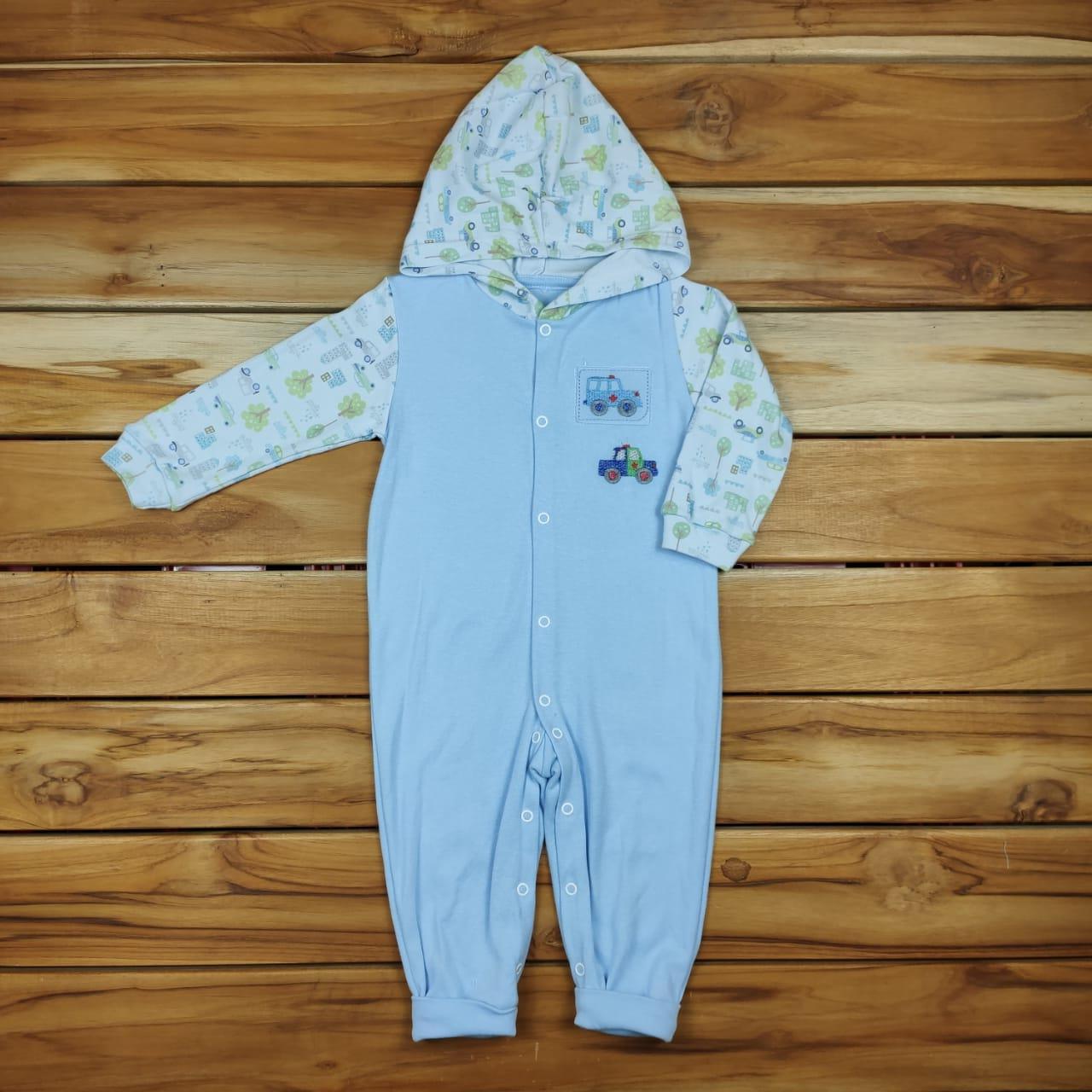 Macacão Longo Bebê Azul Carrinho
