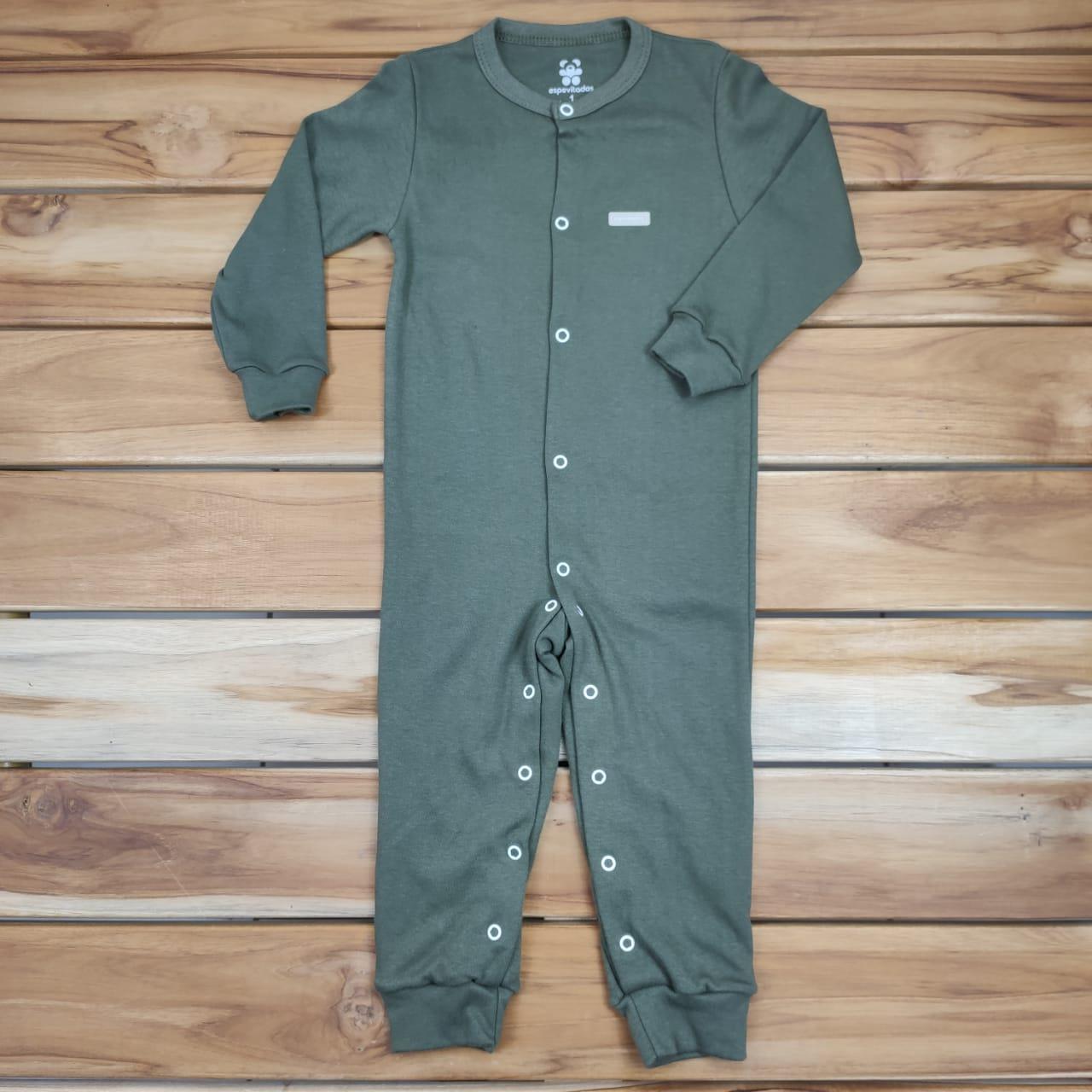 Macacão Longo Bebê Verde Militar