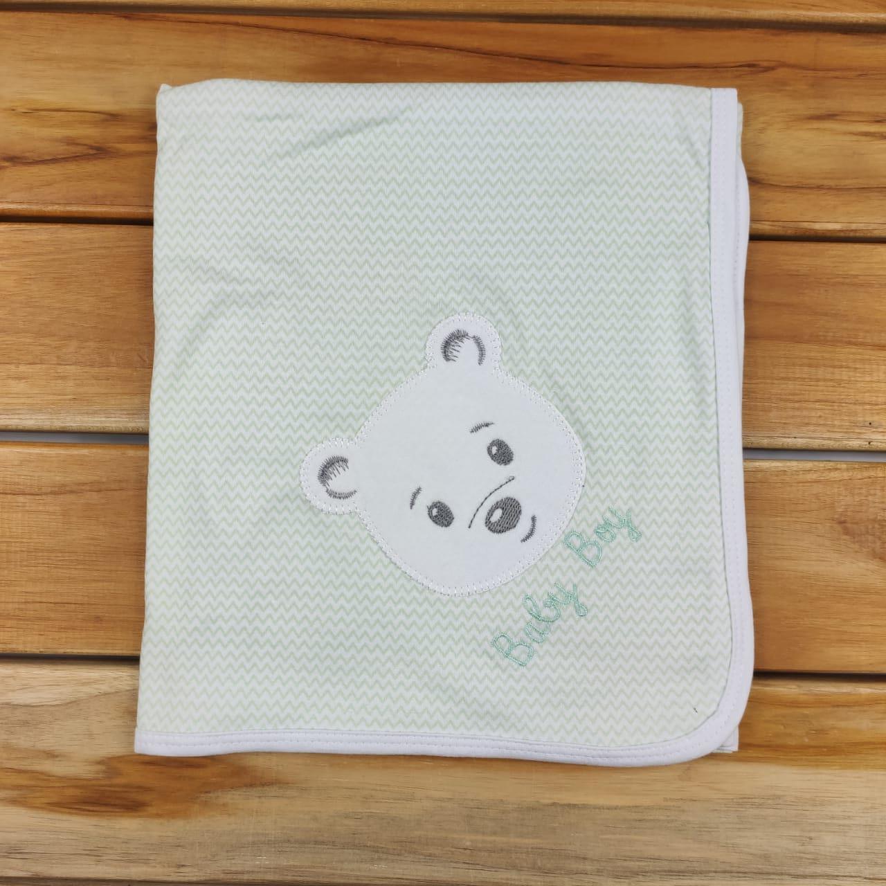 Manta Verde e Branca de Ursinho
