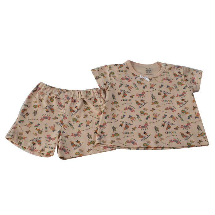 Pijama Curto Bebê Salmão