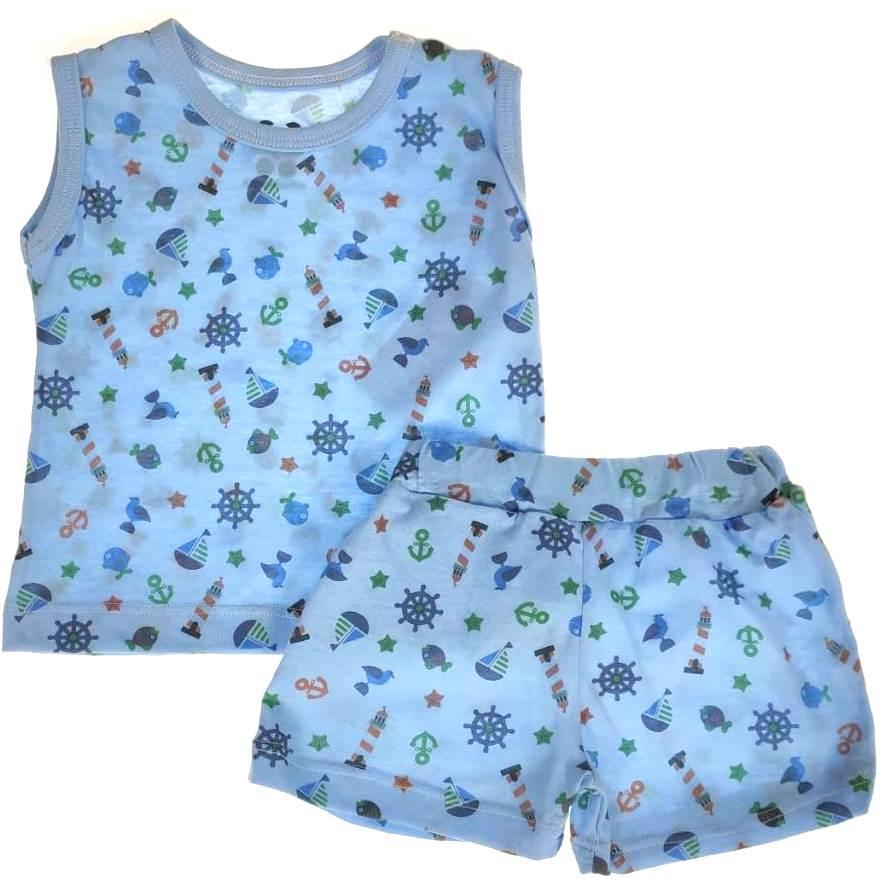 Pijama Curto Bebê Azul de Barquinhos