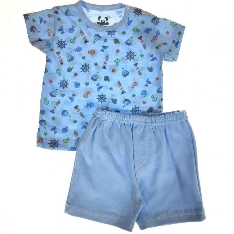 Pijama Curto Bebê Azul de Peixinhos