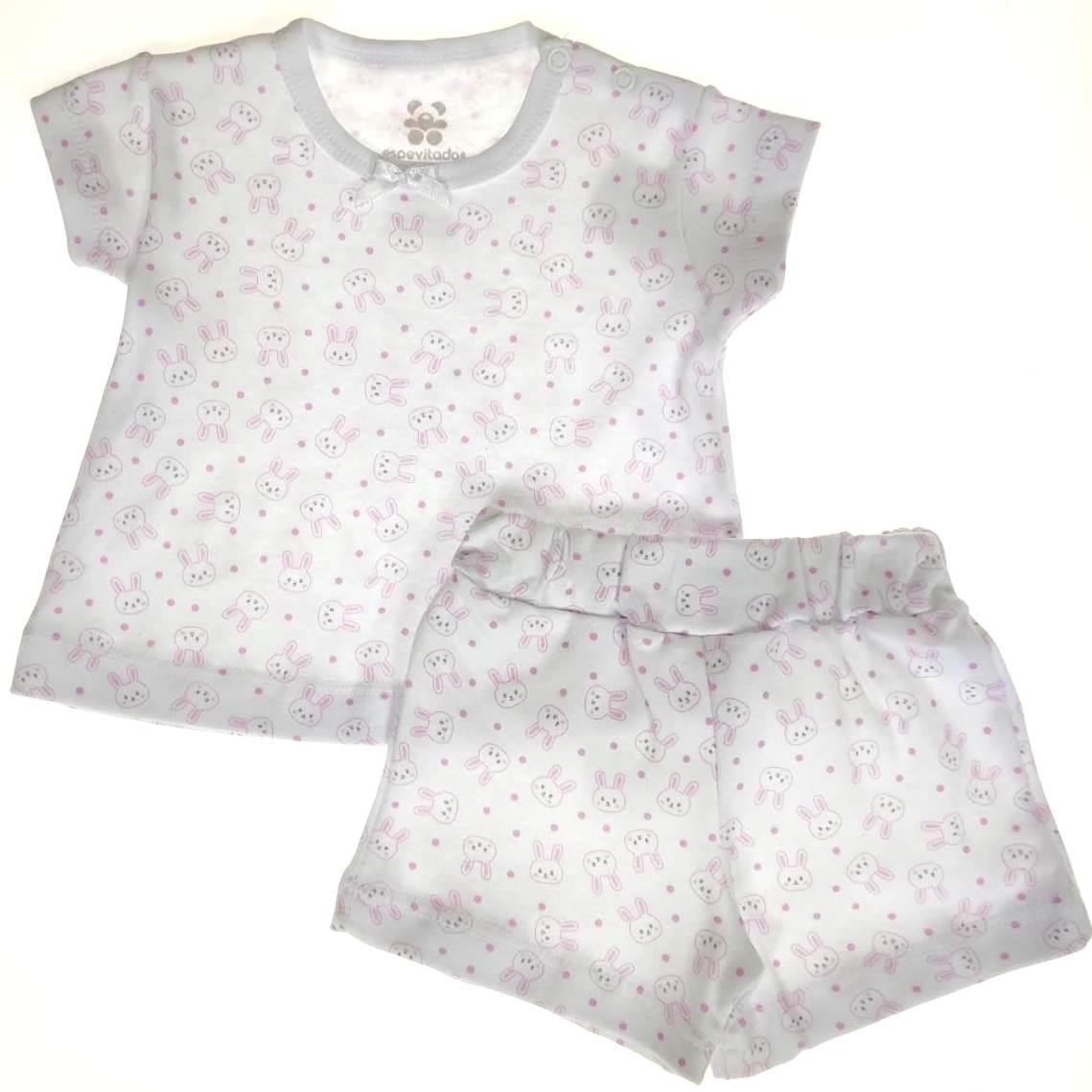 Pijama Curto Bebê Branco