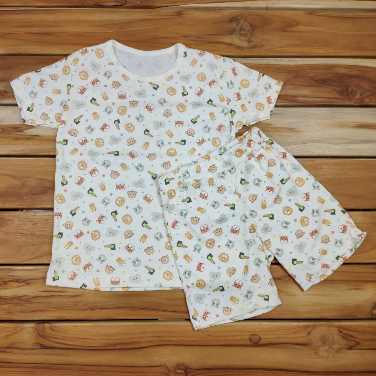 Pijama Curto Infantil Cru Do Safari