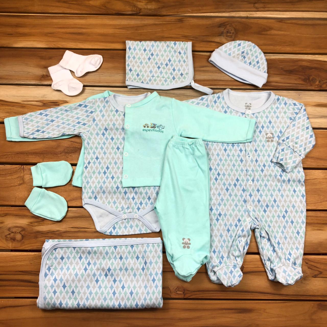 Kit Saída Maternidade Verde com Azul - 9 Peças