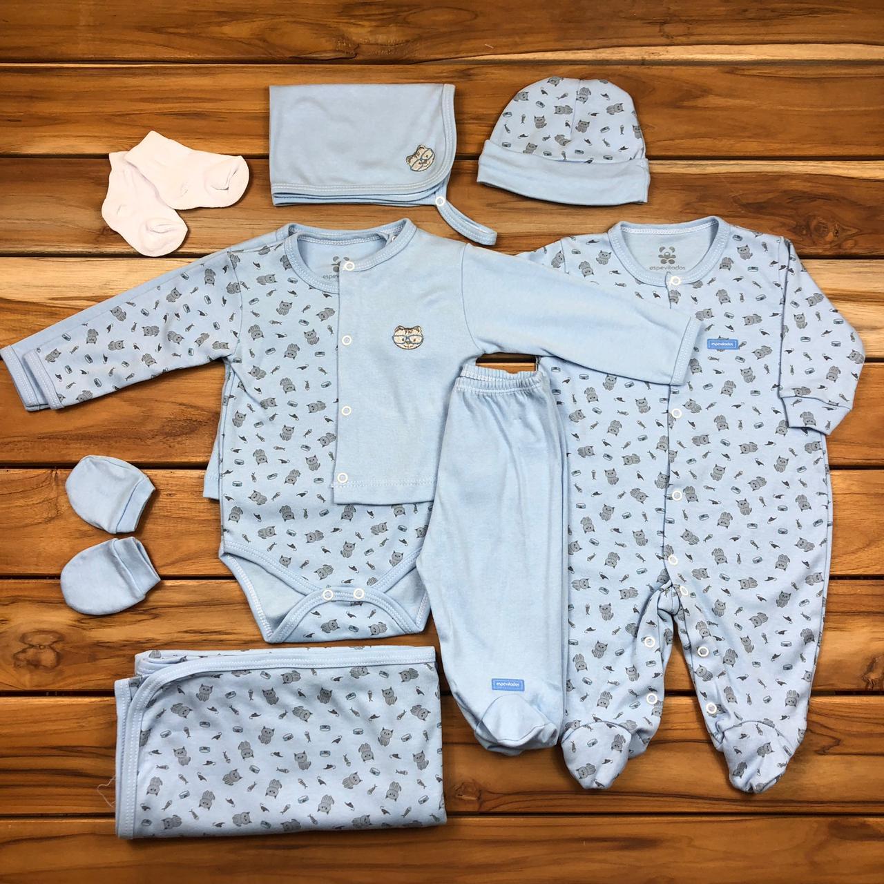Kit Saída Maternidade Azul - 9 Peças