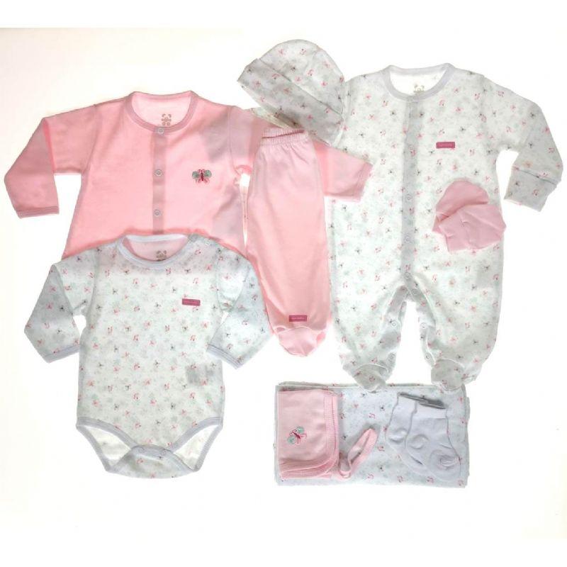 Saída Maternidade Rosa e Branco 9 Peças