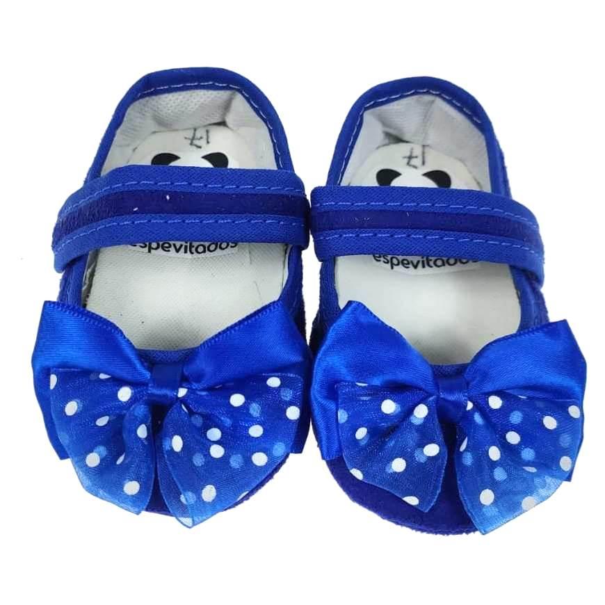 Sapatinho Azul com Laço e Velcro