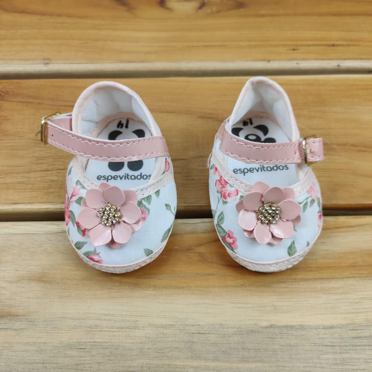 Sapato Salmão e Branco Flores
