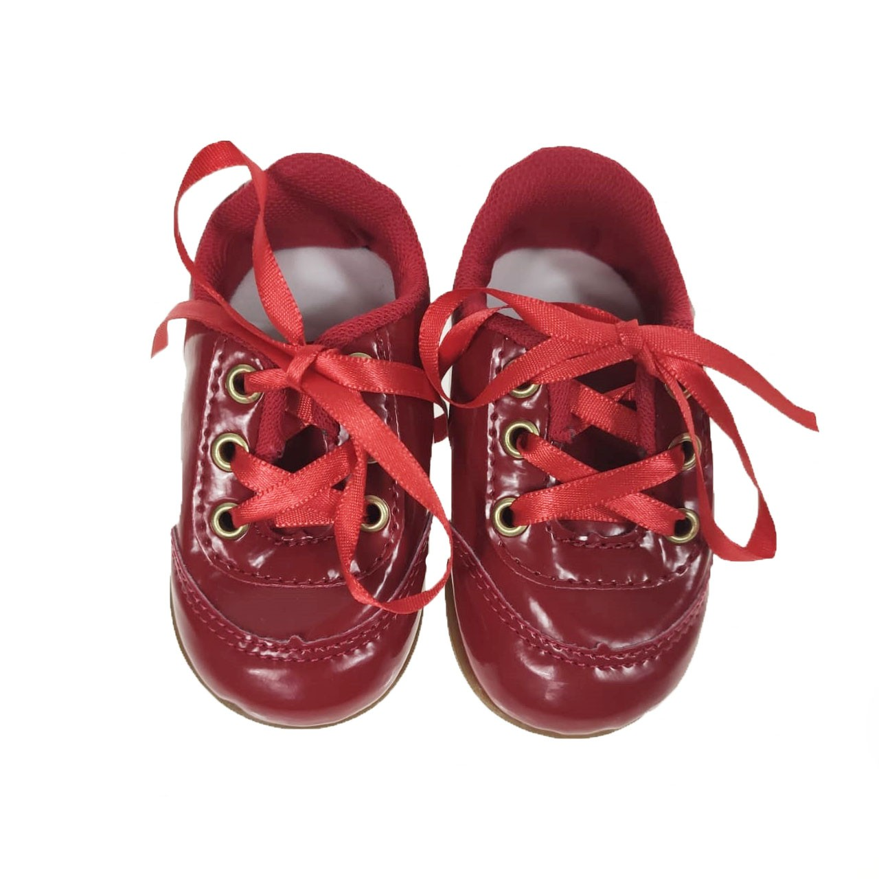 Tênis Bebê Vermelho Envernizado #BOASFESTAS