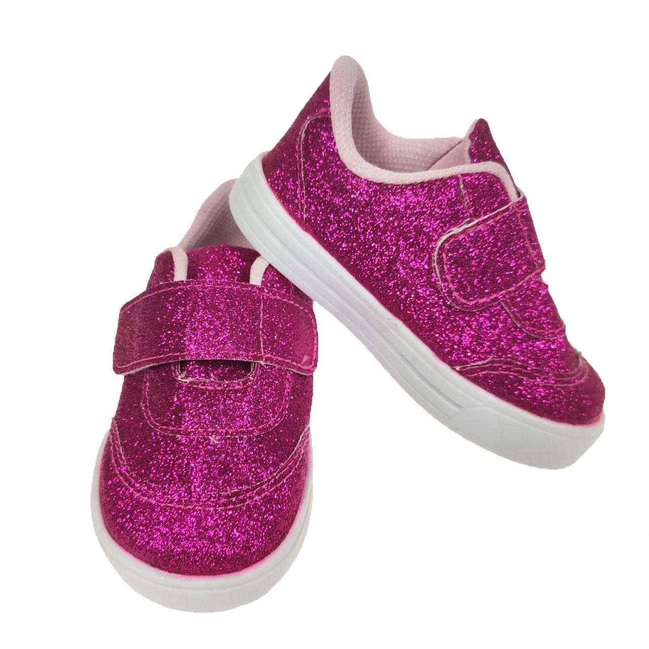 Tenis Brilho Pink com Velcro