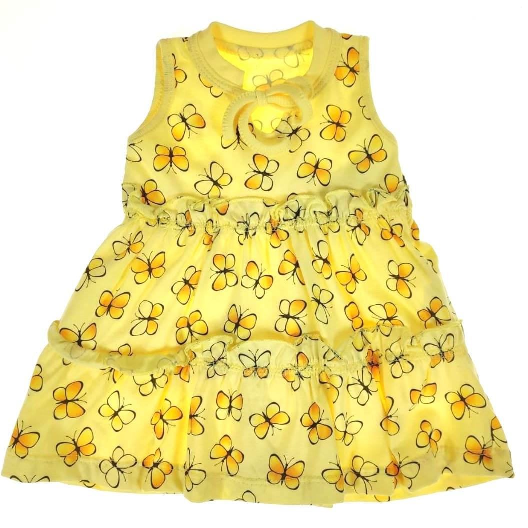 Vestido Bebê Amarelo de Borboletas