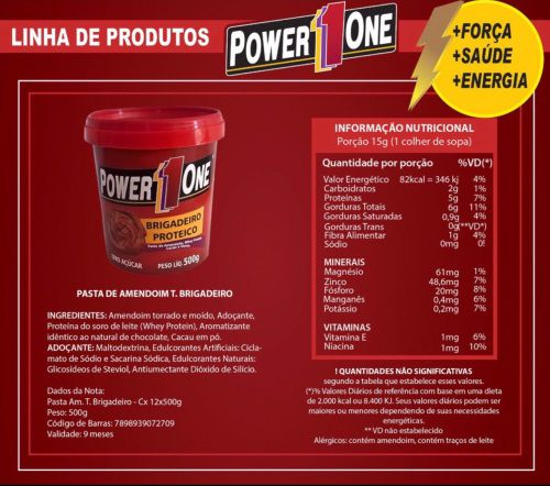 Combo 3 Pastas de amendoim Brigadeiro 500g - Power One