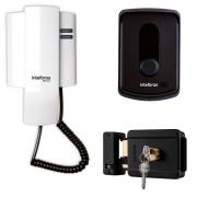 Interfone Intelbras IPR 8010 + Fechadura Elétrica de Sobrepor Intelbras FX 500