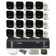 Kit CFTV 16 Câmeras Bullet HB 720p DVR Intelbras 16 canais