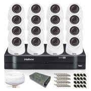 Kit 16 Câmeras de Segurança Giga Dome 720p DVR Intelbras