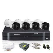 Kit Monitoramento Intelbras com 4 Câmeras de Segurança 1080p