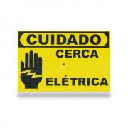 Placa de Advertência Cuidado Cerca Elétrica | NetAlarmes