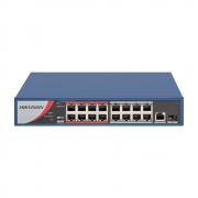 Switch Hikvision PoE Fast Ethernet 16 Portas DS-3E0318P-E/M(B)