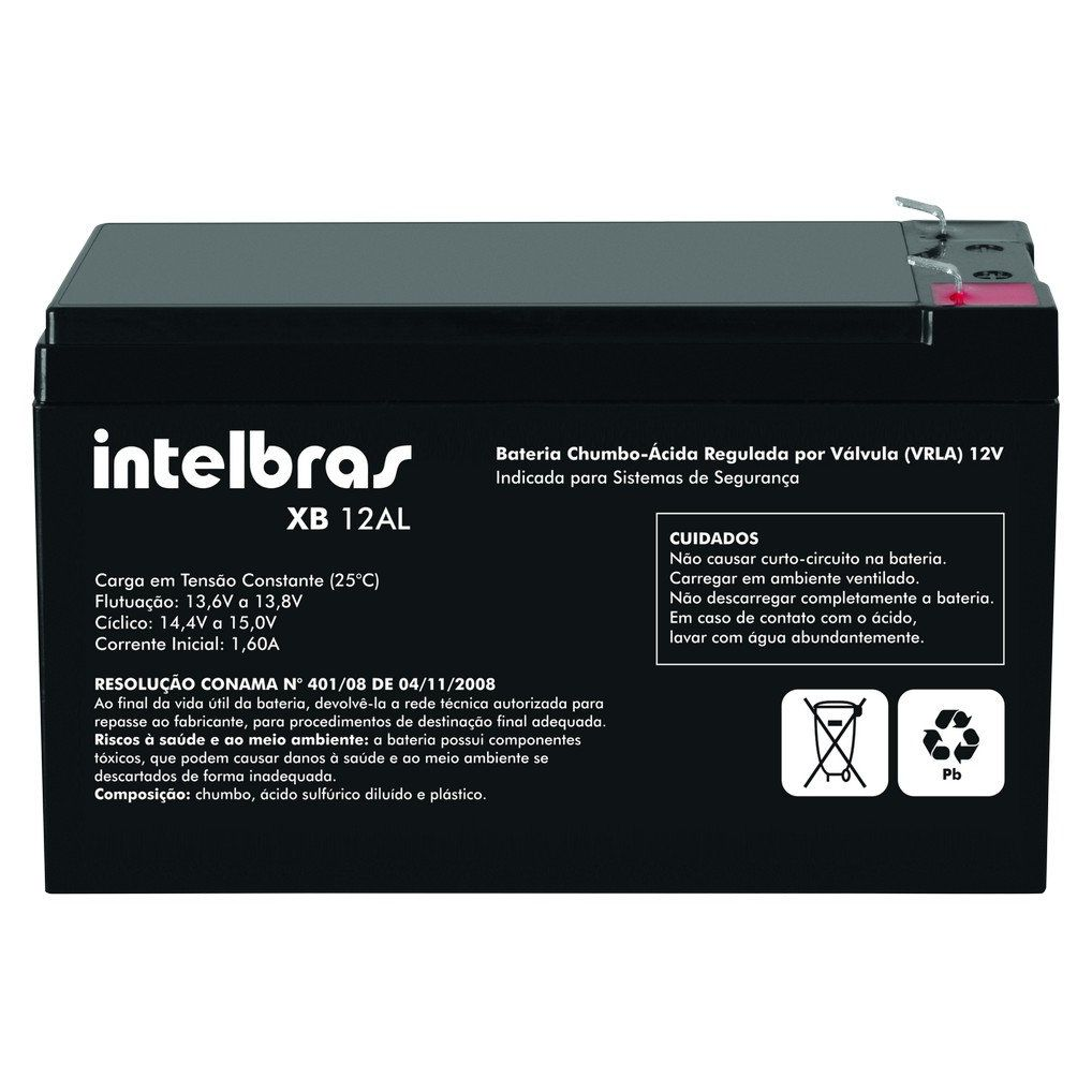 Bateria Intelbras XB 12AL para Sistemas de Alarme e Cerca Elétrica