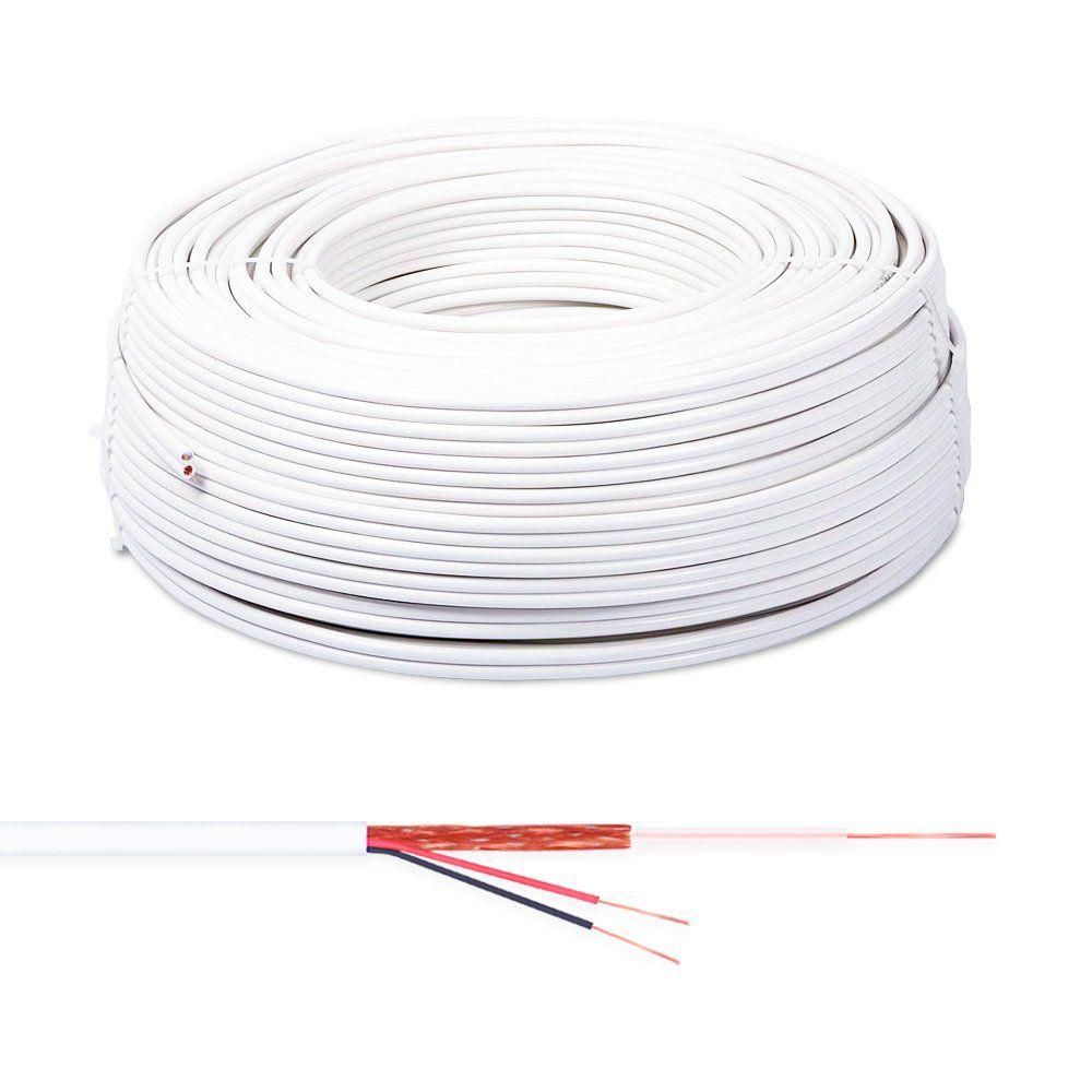 Cabo Coaxial Connect Cable Flexível Bipolar 80% 100 Metros