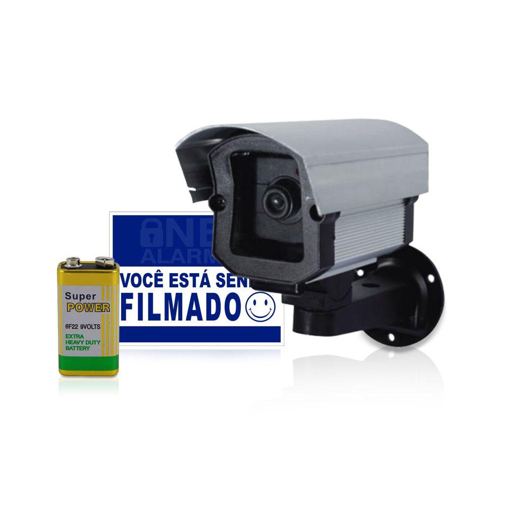 Câmera Falsa Com Led com Bateria e Placa