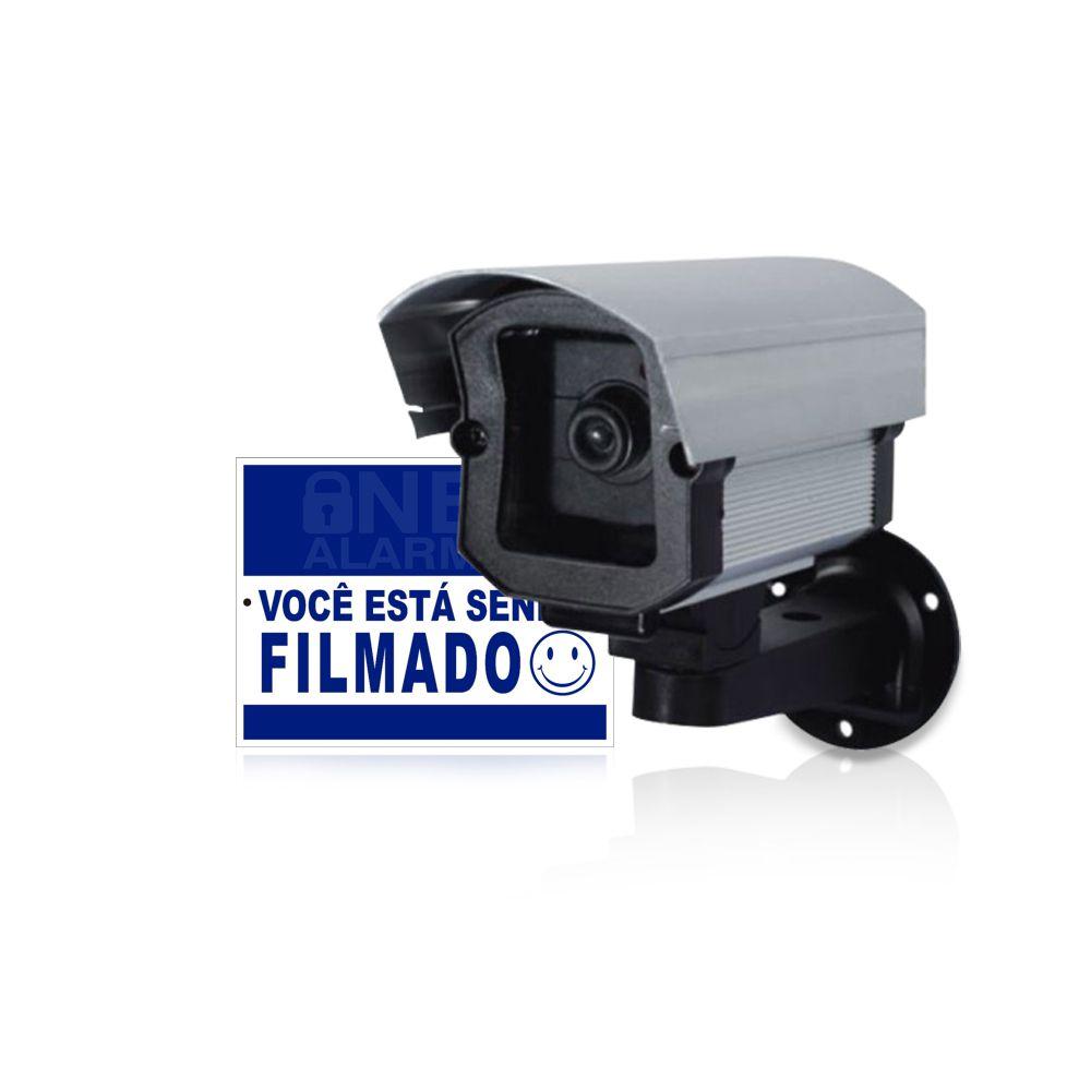 Câmera Falsa Com Led com Placa de Advertência