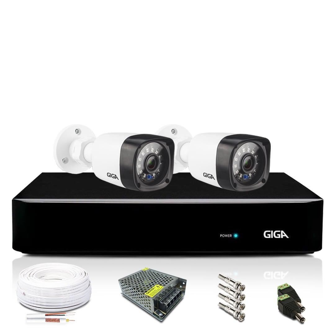 Kit 2 Câmeras de Segurança Bullet 720p DVR 4 Canais Giga Orion