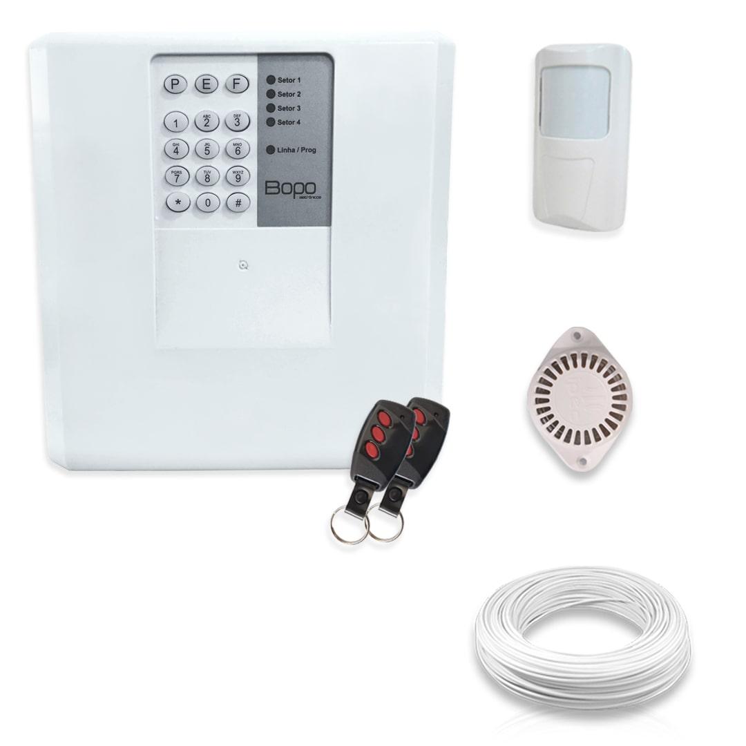 Kit Alarme Residencial Bopo 1 Sensor Sem Fio e Discadora