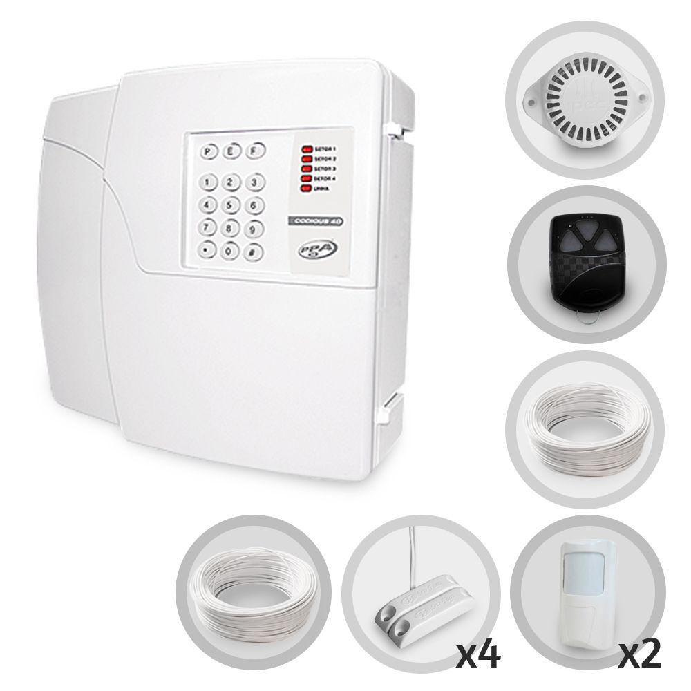 Kit Alarme Residencial PPA 6 Sensores Com Fio Discadora
