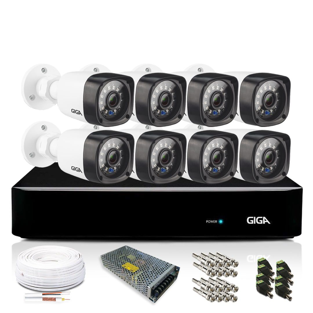 Kit 8 Câmeras de Segurança Giga Security Bullet HVR 8 Canais