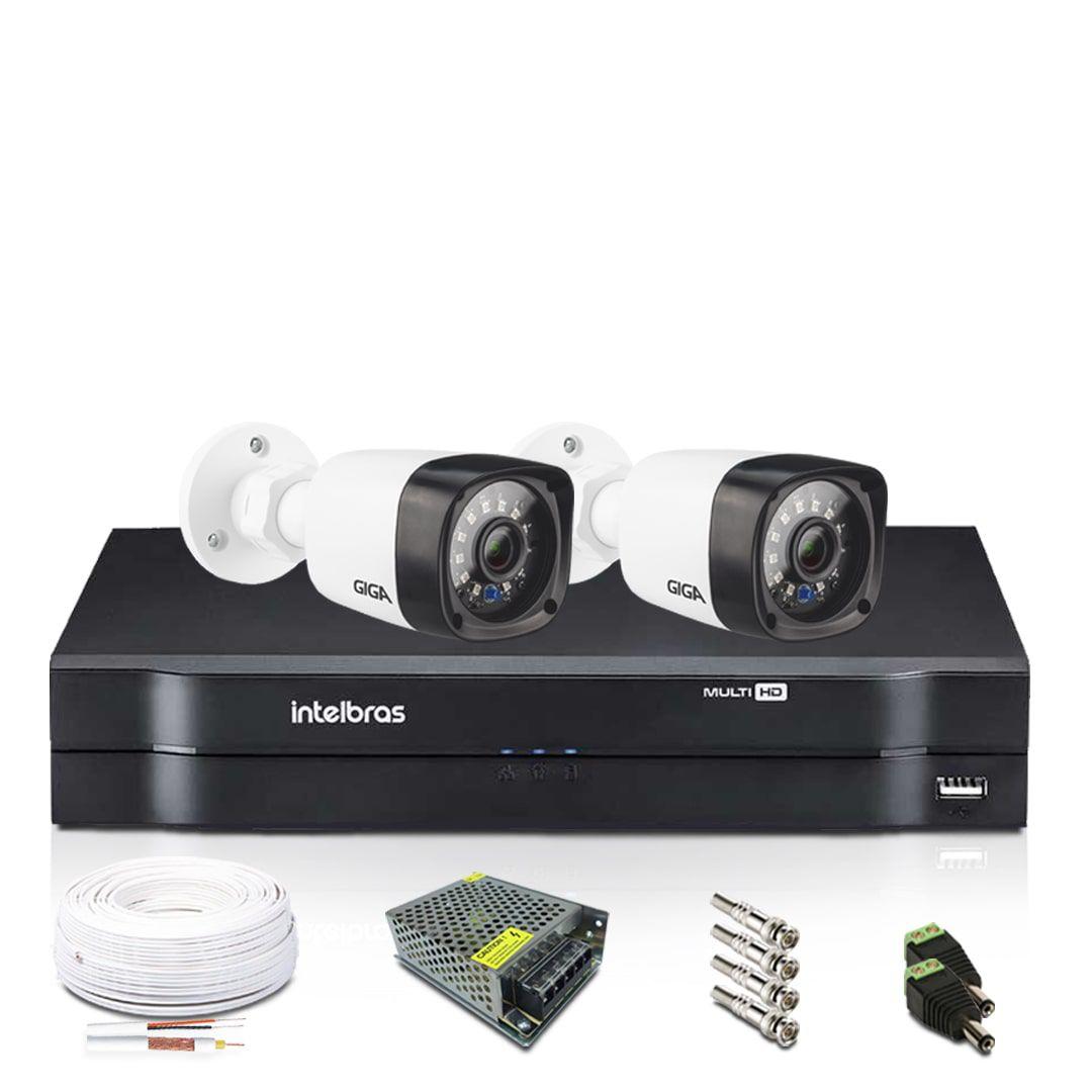 Kit Câmeras de Segurança com DVR Intelbras 4 Câmeras Giga 720p Bullet