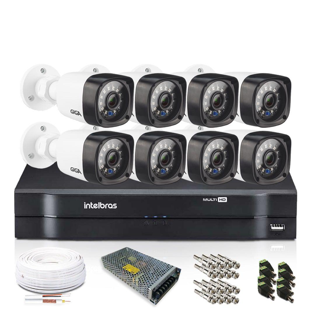 Kit Câmeras de Segurança com DVR Intelbras 8 Câmeras Giga