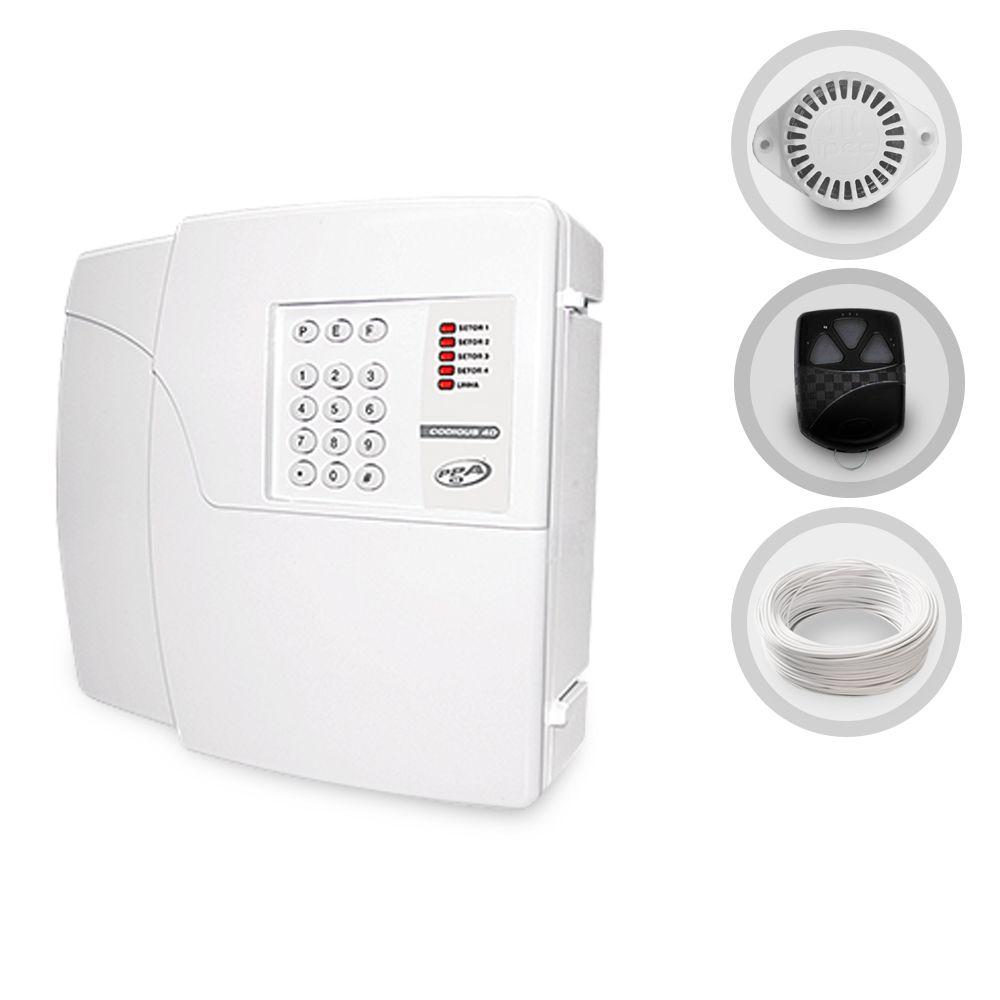 Kit Alarme Residencial PPA Sirene e Cabo (Sem Sensores)