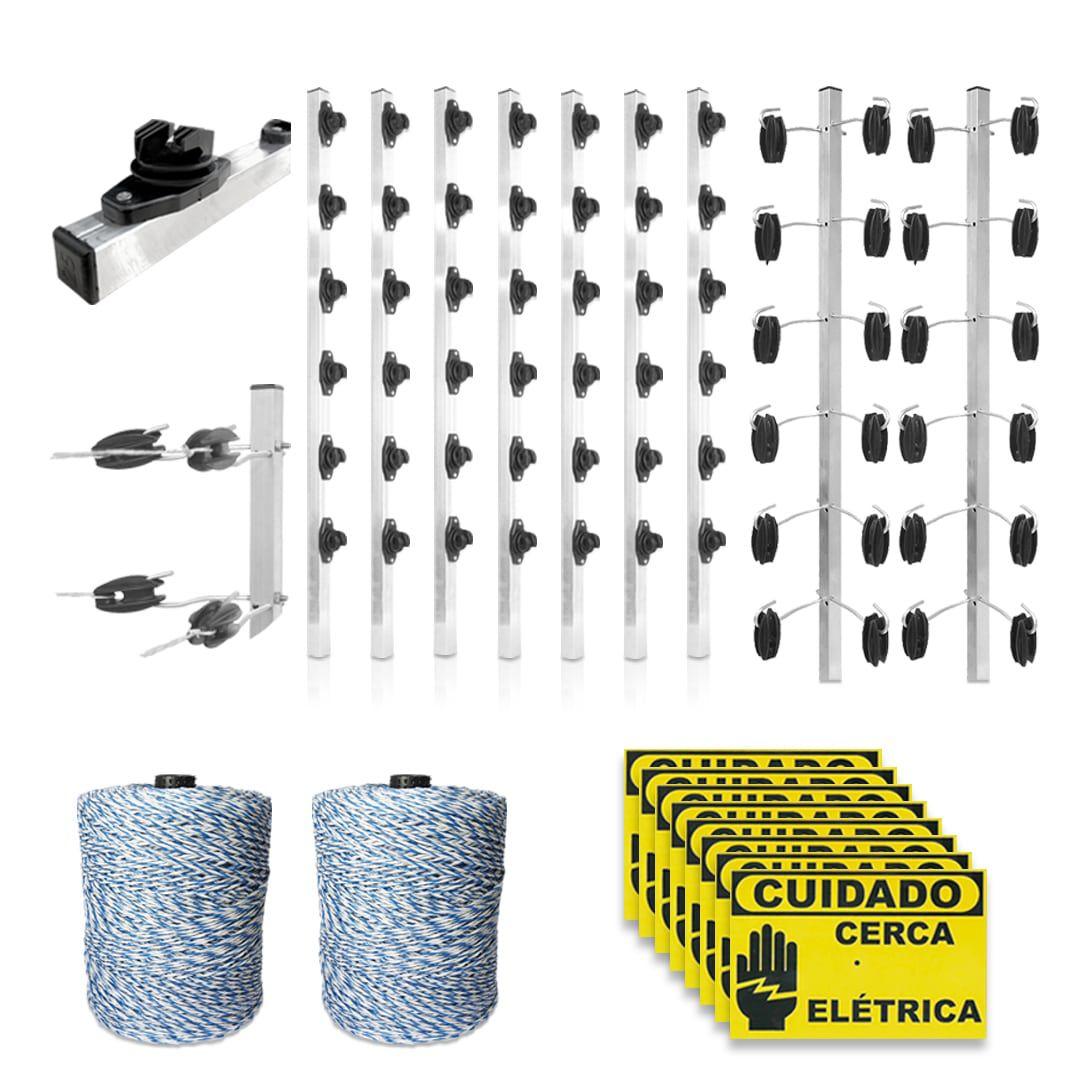 Kit Cerca Elétrica Industrial GCP Big Haste 6 Isoladores 100 Metros