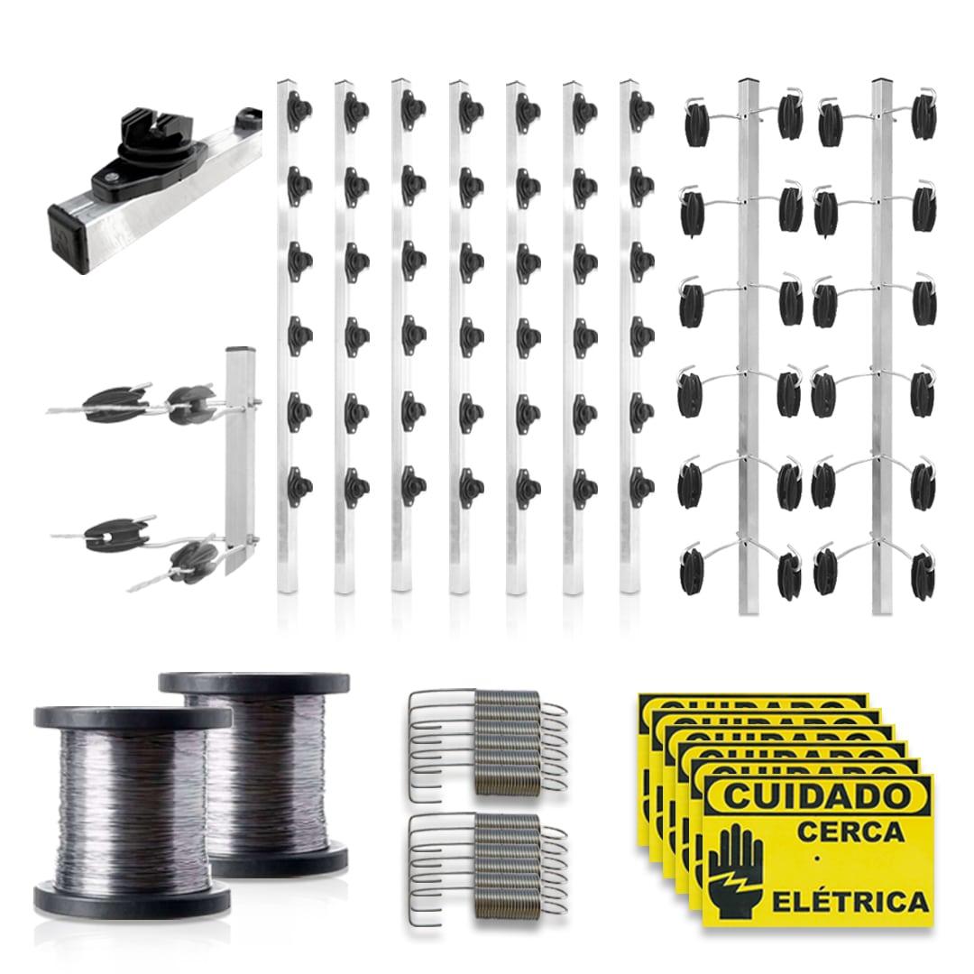 Kit Cerca Elétrica Intelbras 80 Metros Big Haste Industrial Aço Inox